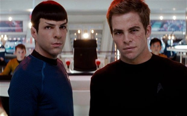 Spock and Kirk both captain the Enterprise in this movie.