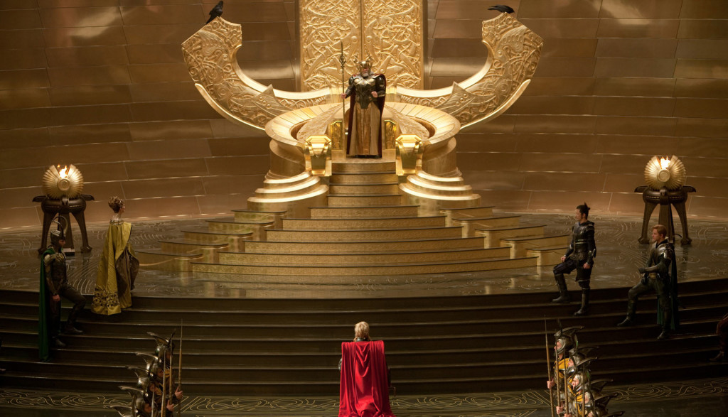 Asgard throne room on Thor's coronation day