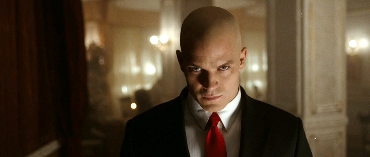 Agent 47 looking at the camera.